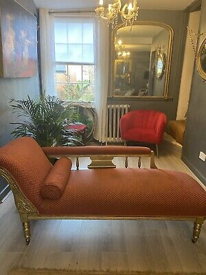 £229 • Buy Chaise Loungue Sofa, Gold Painted Carved Wood Detail . Antique Edwardian .
