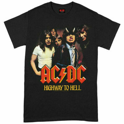 $13.99 • Buy Official AC/DC T Shirt Highway To Hell Group Black Classic Rock Metal Tee Mens