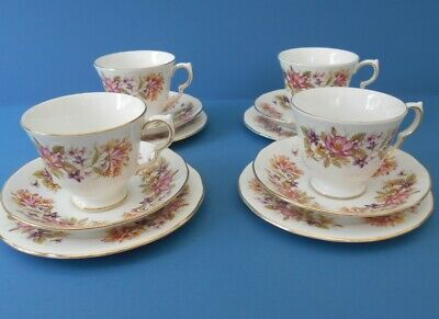£19.99 • Buy Colclough  Wayside  English Bone China 8581 Gilded Cup Saucer Plate Trios X 4