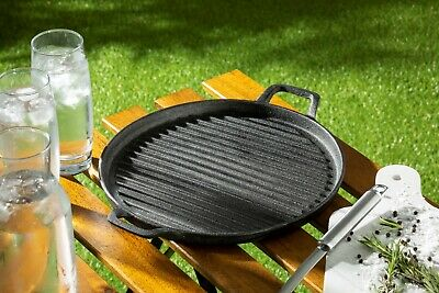 £19.49 • Buy Homiu Round Grey Cast Iron Griddle Plate Frying Enamel Pan Grill BBQ Skillet NEW
