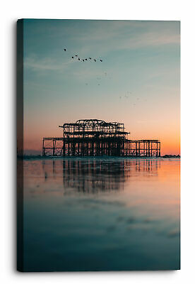 £24.99 • Buy Brighton West Pier And Birds In Blue Sky Canvas Wall Art Picture Home Decor...