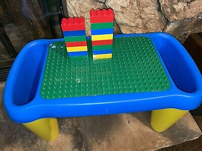 £17.99 • Buy Vintage Lego DUPLO Play Table Lap Desk With Storage Yellow And Blue + 15 Blocks