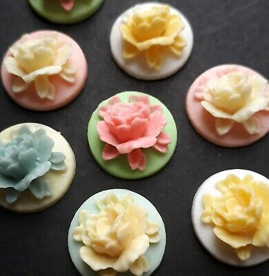 £1.95 • Buy 20 Small Multi Coloured Flatback Rose Flower Cabochon Cameo 18 Mm