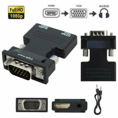£4.69 • Buy 1080P HDMI Female To VGA Male With Audio Output Cable Converter Adapter Lead UK