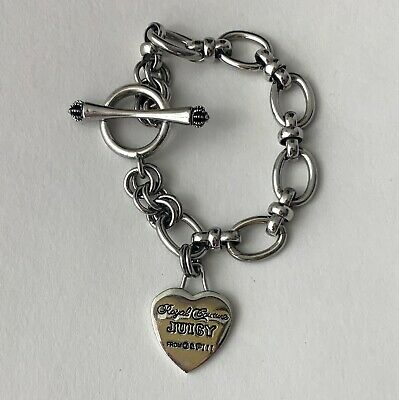 """£14.51 • Buy Juicy Couture  Royal Couture"""" G&P Heart Charm 7.5  Toggle Bracelet  Silver Tone"""