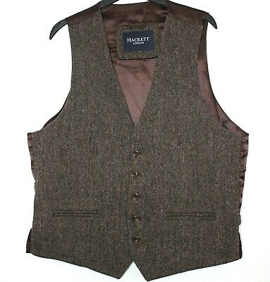 $27.72 • Buy Hackett London Mens Brown Tweed Waistcoat Button Front Med 44  - Good Condition