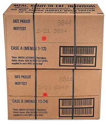 $102 • Buy 12ct Case MRE Meals Ready-to-eat US Military Surplus A Menus 1-12, 2021-inspect