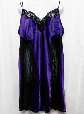 £18.88 • Buy Cacique Nightgown Negligee Satin Slip Plus 22 24 Purple Black Lace Sheer Panels