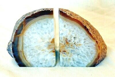 £36.99 • Buy Two Natural Crystal Agate Split Geode Polished Bookend Display Samples