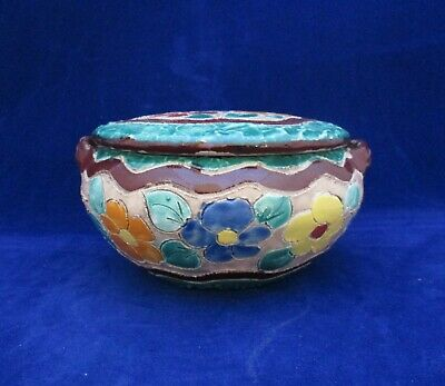 £28 • Buy Vintage French Art Pottery Lidded Floral Pot By Jerome Massier Vallauris