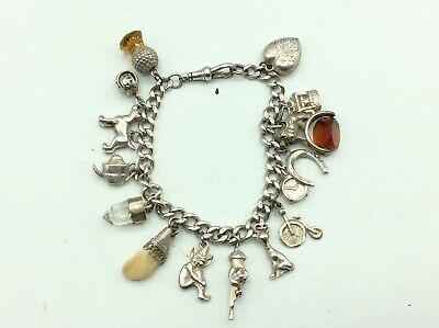 £46.51 • Buy Fantastic Antique Vintage Chunky Solid Silver Charm Bracelet With Charms Fobs