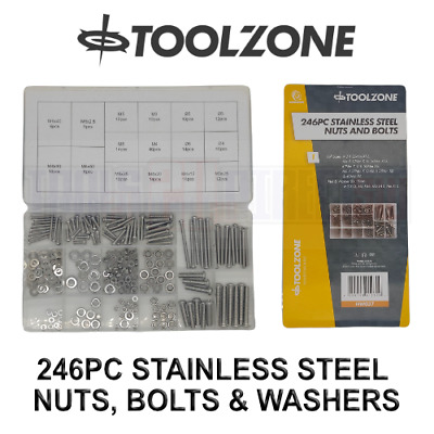 £6.90 • Buy Toolzone 246pc Stainless Steel Nuts And Bolts Washers M3 M4 M5 M6 Grade 201