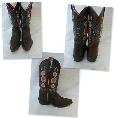 $59.95 • Buy Little Girl's Macie Bean Kemosabe Floral Leather Cowgirl Boots - Sz 11