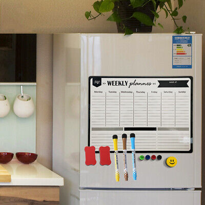 AU19.48 • Buy A3 Magnetic Weekly & Monthly Planner Whiteboard Fridge Magnet Flexible Message