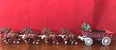 $ CDN251.77 • Buy Vintage Cast Iron Beer Wagon 8 CLYDESDALE HORSES Drivers And 15 Kegs Budweiser