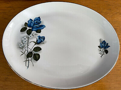 £20 • Buy Barratts Delphatic Blue And White Rose Oval Plates Gold Rim X2
