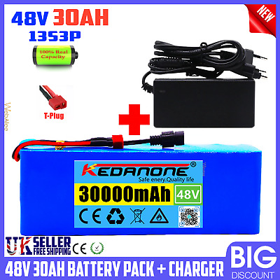 £99.99 • Buy Lithium Ion Battery Pack For E-bike E-Scooter Rechargeable 48v 1000w 30000mah