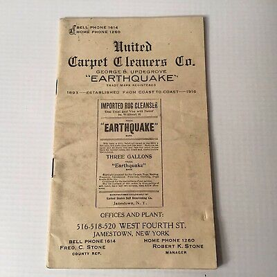£8.63 • Buy 1916 Booklet United Carpet Cleaners EARTHQUAKE George B Updegrove Jamestown NY