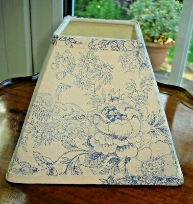 £4.99 • Buy Small Square Blue & Cream Linen Fabric Candle Lampshade - Bird & Floral Print
