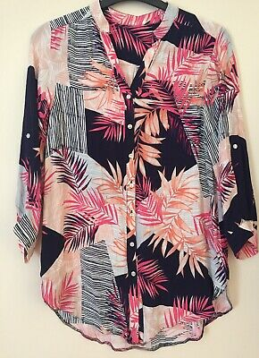 £4.99 • Buy Ladies Blouse Size 10 Beautiful Bright Tropical Print Tunic Worn Once