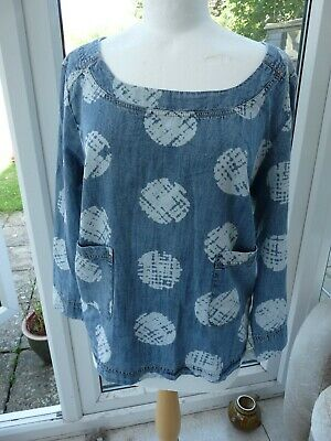 £6.15 • Buy WEIRD FISH Sz 20 Gorgeous Denim Look Blouse Top With Pockets BNWOT
