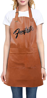 $12.99 • Buy Leather Waterproof Apron For Kitchen Chef Apron For Men Women With Pockets