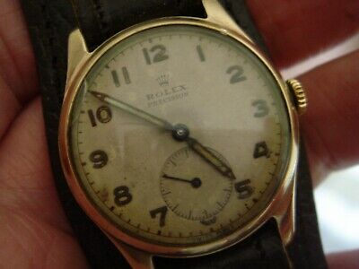 $ CDN1644.55 • Buy Vintage Gents ROLEX PRECISION / MILITARY TROPICAL DIAL/ 9ct Gold Case.
