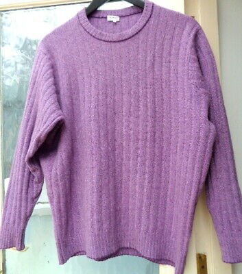 £25 • Buy Made In Scotland N Peal Purple Pure Cashmere Ribbed Knit Jumper M