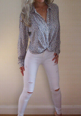 AU7.47 • Buy Beautiful Hollister Ivory & Blue Button Knot Front Summer Blouse Small UK 8