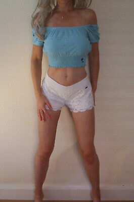 AU7.47 • Buy New With Tags Hollister Mint Blue Crop Fit Off Shoulder Bardot Gypsy Top S UK 8