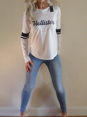 AU9.34 • Buy New With Tags Hollister White Logo Stretch Fit Long Sleeve T Shirt Top XS UK 6 8