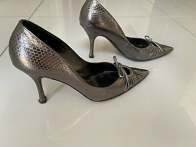 £25 • Buy Dolce And Gabbana Shoes Size EU37.5 / UK 4.5 Pewter Leather Lizard Skin Effect