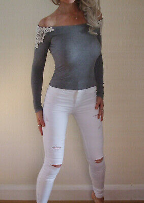 AU13.08 • Buy New With Tags Hollister Rare Grey Off Shoulder Bardot Embroidered Top XS UK 6 8