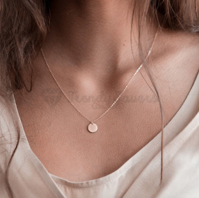 £3.99 • Buy Women 18ct Rose Gold Plated Sterling Silver Short Chain Choker Pendant Necklaces
