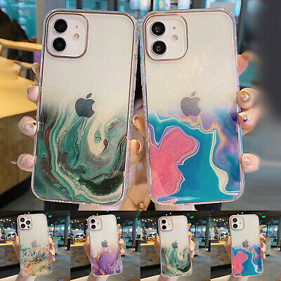AU9.39 • Buy For IPhone 11 12 Pro Max XS XR 7 8 Plus Marble Shockproof Clear Back Case Cover