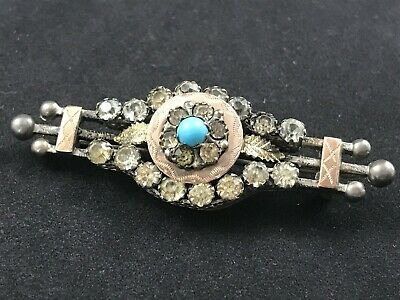 £9.99 • Buy Antique Victorian Silver Paste Brooch, Rose Gold Accents