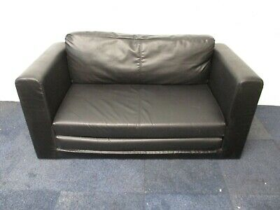 £40 • Buy IKEA Faux Leather Sofa Bed, 2 Seater, Black, 140cm Wide