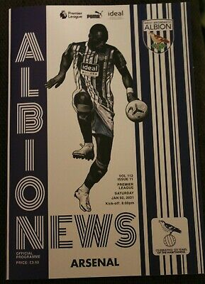 £6.75 • Buy West Brom V Arsenal 2nd January 2021 Programme - Behind Closed Doors Game