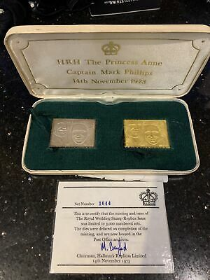 £1500 • Buy Cased Set Of 1973 Princess Anne Royal Wedding 22ct. Gold & Silver Replica Stamps