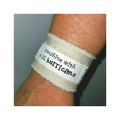 £18.15 • Buy Sunshine Mixed With A Little Hurricane Quote Fabric Cuff Bracelet Jewelry Gift