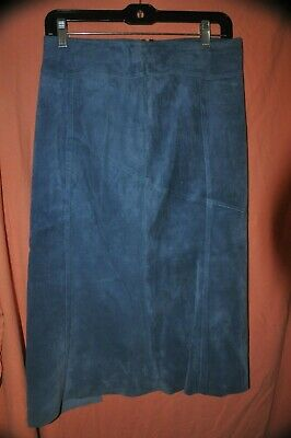 $ CDN25.18 • Buy Danier Leather Long Skirt Size 4 Blue Lined Length 29 Inches Waist 30 Inches