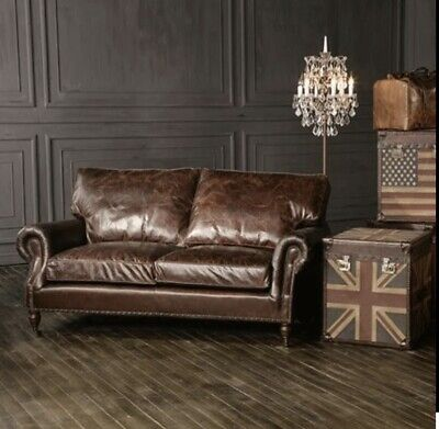 £799 • Buy Halo Balmoral Antiqued Brown Victorian Style Leather Sofa 2 Seater Sofa