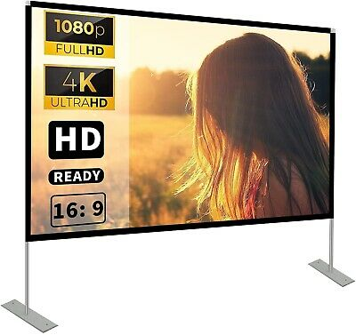 AU125 • Buy Projector Screen With Stand 100 Inch 16:9 HD 4K Outdoor Indoor For Home Theatre