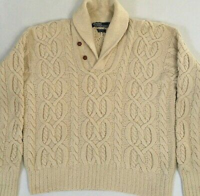 $50 • Buy Polo Ralph Lauren Hand Knit Fisherman Cable Knit Wool/Silk Shawl Neck Large L