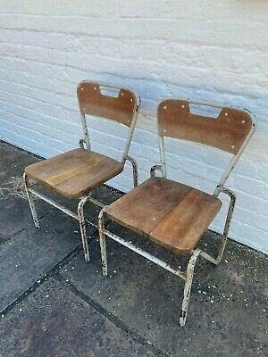 £60 • Buy 2 X Vintage Industrial Stacking School Chair For Kids. Retro Style