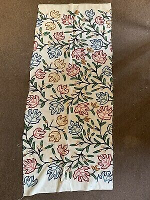 £2 • Buy Embroidered Tapestry Wool Cotton Fabric Remnant 125 X 50cm Flowers Leaves Floral