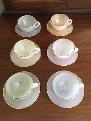 £33.50 • Buy Pretty Vintage Arcopal French Harlequin Pastel Coffee Cups & Saucers X 6