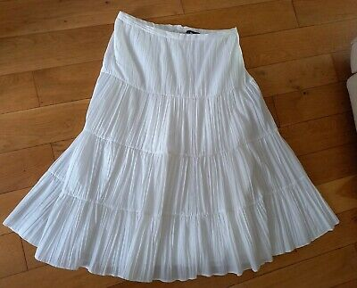 £5.50 • Buy Lovely F&F  White Boho Gypsy Tiered Summer Skirt Size 14. Lined. Good Condition.