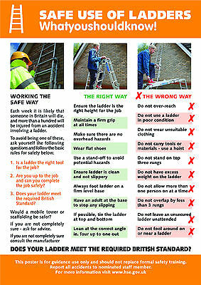 £8.49 • Buy Health And Safety Safe Use Of Ladders A2 Poster / Sign  Ref: HS109 420 X 594mm