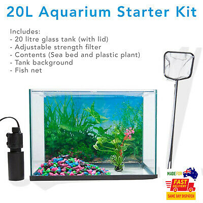 AU59 • Buy 20 Litre Fish Aquarium Tank Starter Kit Pack With Accessories And Free Shipping